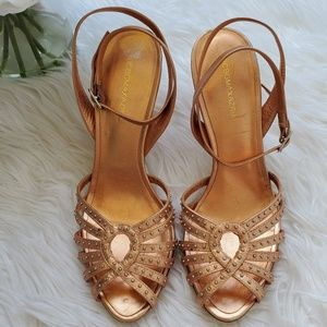 BCBG MaxAzaria gold heel sandal Made in Brasil